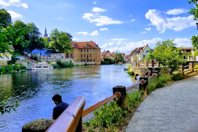 banks of the Regnitz river in the sun